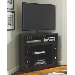 Signature Designs by Ashley Shay Black Corner TV Stand