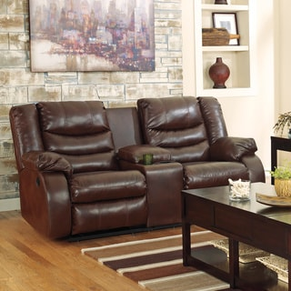 Signature Design by Ashley Linebacker DuraBlend Double Reclining Espresso Loveseat with Console