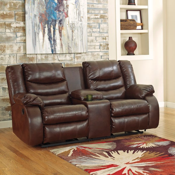 Signature Design By Ashley Double Reclining Power Loveseat With Console 16307599 Overstock