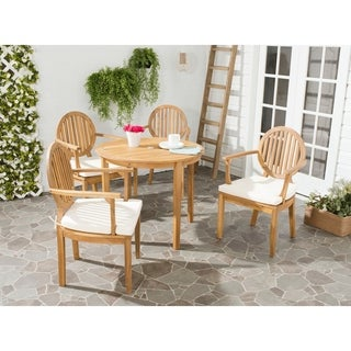 Safavieh Outdoor Living Chino Brown Acacia Wood 5-piece Beige Cushion Dining Set