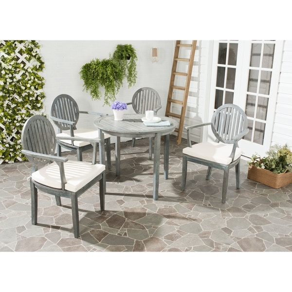 Safavieh Outdoor Living Chino Ash Grey Acacia Wood 5-piece Beige Cushion Dining Set