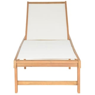 Safavieh Outdoor Living Manteca Brown Acacia Wood Lounge Chair
