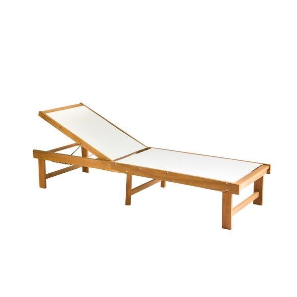 Safavieh outdoor living manteca brown acacia wood lounge chair for Acacia wood chaise lounge
