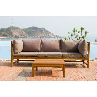 Safavieh Outdoor Living Lynwood Modular Brown Acacia Wood 4-piece Taupe Cushion Sectional Set