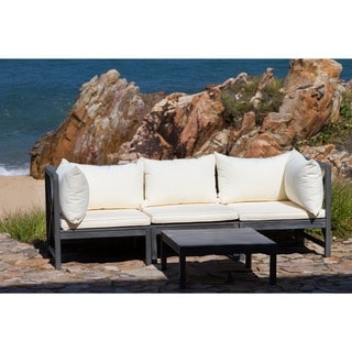 Safavieh Outdoor Living Lynwood Ash Grey Acacia Wood 4-piece Beige Cushion Sectional Set