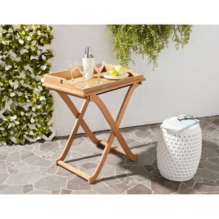 Safavieh Outdoor Living Covina Brown Acacia Wood Folding Tray Table