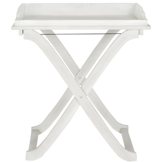 "Safavieh Outdoor Living Covina Antiqued White Acacia Wood Folding Tray Table - 18.9"" x 27.2"" x 31.5"""