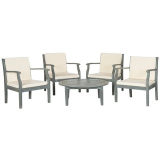 Safavieh Outdoor Living Anaheim Brown Acacia Wood 5-piece Beige Cushion Patio Set