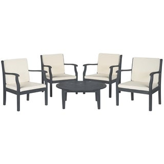 Safavieh Outdoor Living Colfax Brown Acacia Wood 5-piece Beige Cushion Patio Set