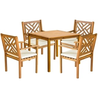 Safavieh Outdoor Living Bradbury Brown Acacia Wood 5-piece Beige Cushion Dining Set