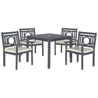 Safavieh Outdoor Living Montclair Ash Grey Acacia Wood 5-piece Beige Cushion Dining Set