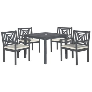 Safavieh Outdoor Living Del Mar Ash Grey Acacia Wood 5-piece Beige Cushion Dining Set