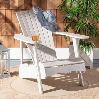 Safavieh Outdoor Living Vista Antiqued White Acacia Wood Adirondack Chair