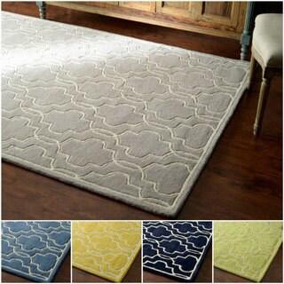 nuLOOM Hand-tufted Lattice Wool Geometric Fancy Rug (5' x 8')