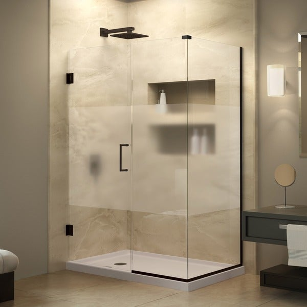 DreamLine Unidoor Plus 30.375 - 34.375 in. D x 39 in. W Frameless Hinged Shower Enclosure, Half Frosted Glass