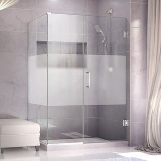 DreamLine Unidoor Plus 30.375 - 34.375 in. D x 42 in. W Frameless Hinged Shower Enclosure, Half Frosted Glass