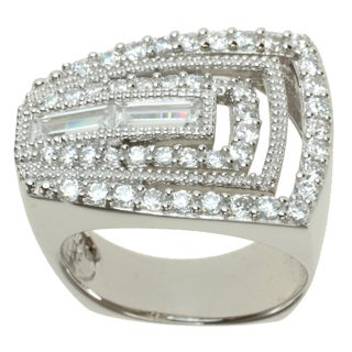 Michael Valitutti Signity Sterling Silver and Cubic Zirconia 'Geometric' Ring
