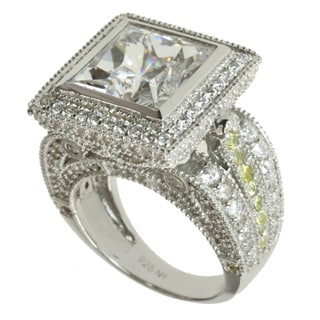 Michael Valitutti Signity Sterling Silver White and Yellow Cubic Zirconia Ring