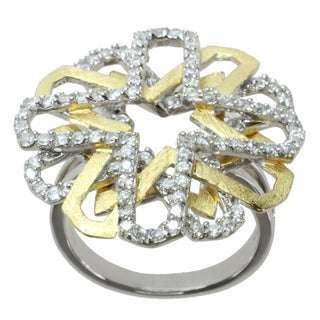 Michael Valitutti Signity Two-tone Cubic Zirconia 'Star-burst' Ring