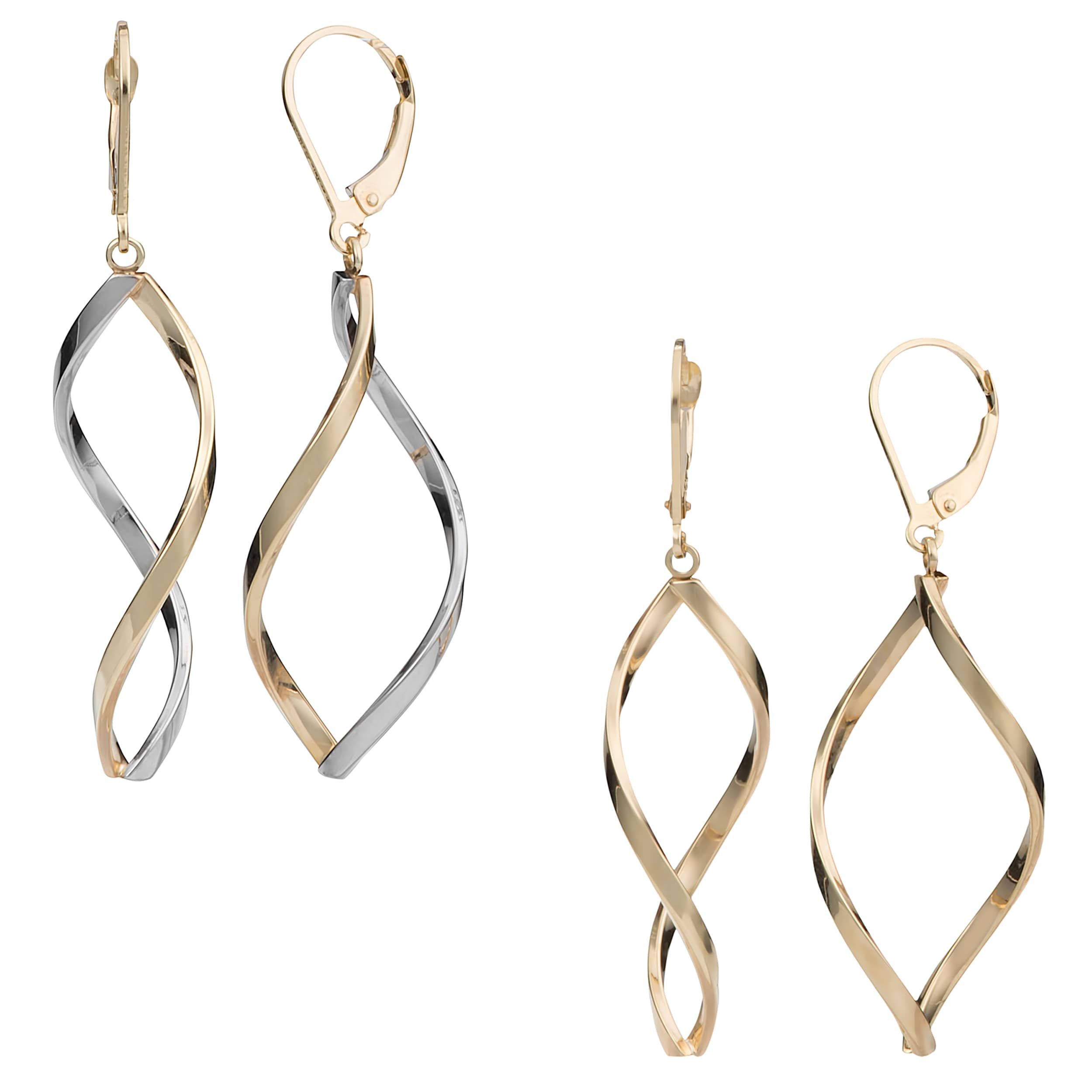 Fremada 10k Gold Twisted Marquise Leverback Earrings at Sears.com