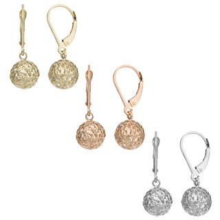 Fremada 10k Gold Diamond-cut Pierced Ball Leverback Earrings