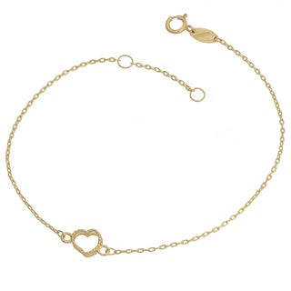 Fremada 10k Yellow Gold Open Heart Bracelet (7.5 inch)