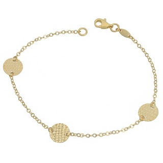 Fremada 10k Yellow Gold Diamond-cut Disc Station Bracelet (7.5 inch)