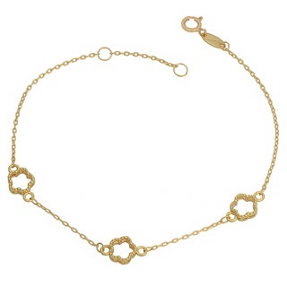 Fremada 10k Yellow Gold Flower Station Bracelet (7.5 inch)