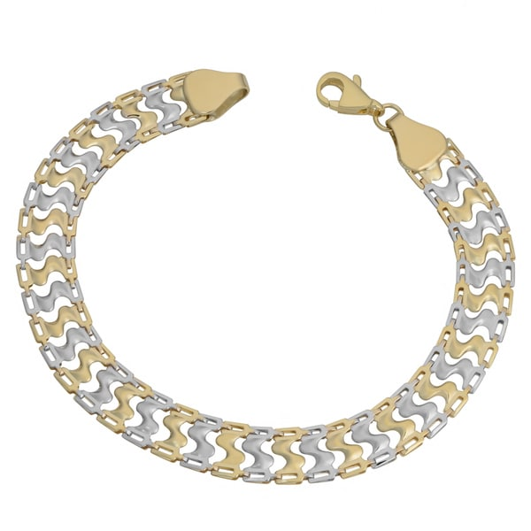 Fremada 10k Two-tone Gold Fancy Link Bracelet (7.5 inch)