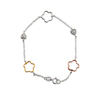 Collette Z Sterling Silver Cubic Zirconia Heart and Open Clover Bracelet