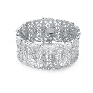 Collette Z Sterling Silver Cubic Zirconia Wide Elegant Bracelet