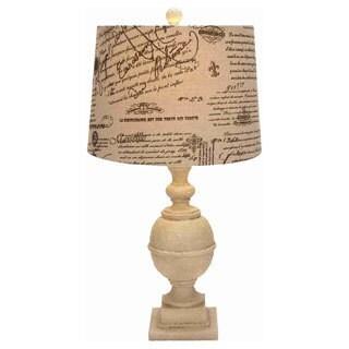 Script Printed Shade Resin Table Lamp