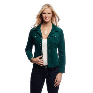 Women's Teal Corduroy Shirttail Jacket