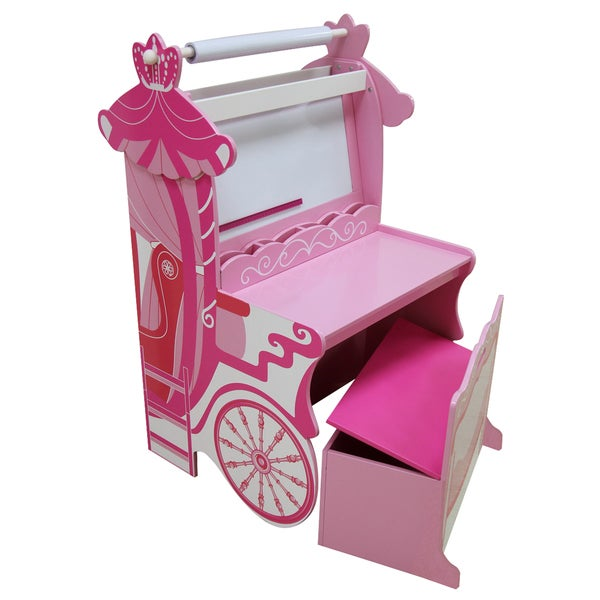 Large Wooden Pink Princess Carriage Easel