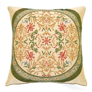French Woven Victorian Design Cotton and Wool Decorative Throw Pillow