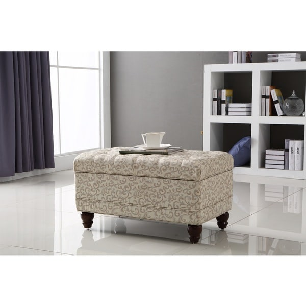 Castillian Collection Ivory White/ Silver Damask Tufted Storage Bench Ottoman