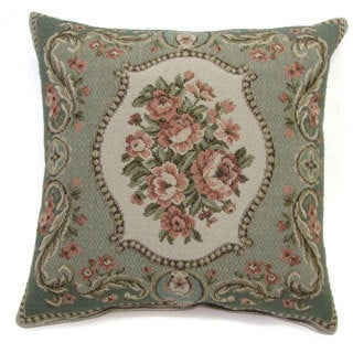 French Woven Rose Bouquet Cotton and Wool Decorative Throw Pillow