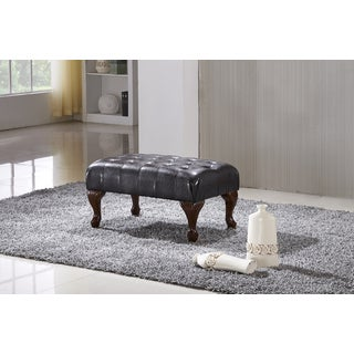 Classic Brown Faux Leather Ottoman Bench with Carved Legs