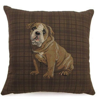 French Woven Bulldog Design Cotton and Wool Decorative Throw Pillow