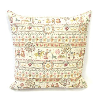 French Woven Bright Country Design Cotton and Wool Decorative Throw Pillow