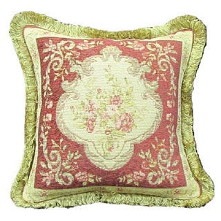 French Woven Rose/ Green Floral Design Wool and Cotton Decorative Throw Pillow