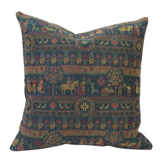 French Woven Country Design Cotton and Wool Decorative Throw Pillow