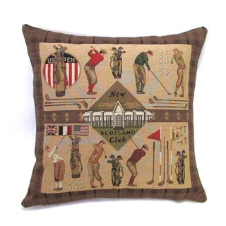 French Woven New Scotland Golf Cotton and Wool Decorative Throw Pillow