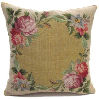 French Woven Floral Circle Cotton and Wool Decorative Throw Pillow