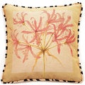 French Woven Coral Pink Floral Cotton and Wool Decorative Throw Pillow