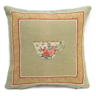 French Woven Tea Cup Cotton and Wool Decorative Throw Pillow