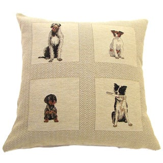 French Woven Dog Tiles Decorative Cotton and Wool Throw Pillow