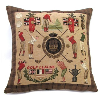 French Woven Golf Design Cotton and Wool Decorative Throw Pillow