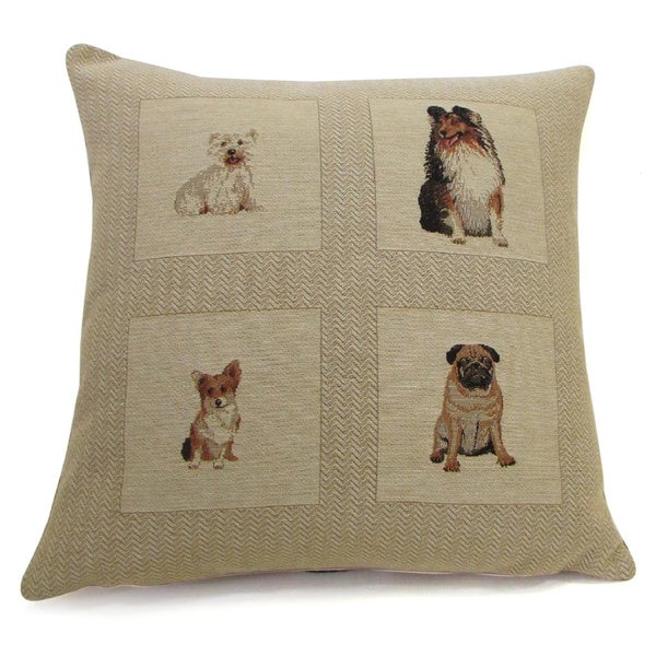 French Woven Sitting Dog Design Cotton and Wool Decorative Pillow