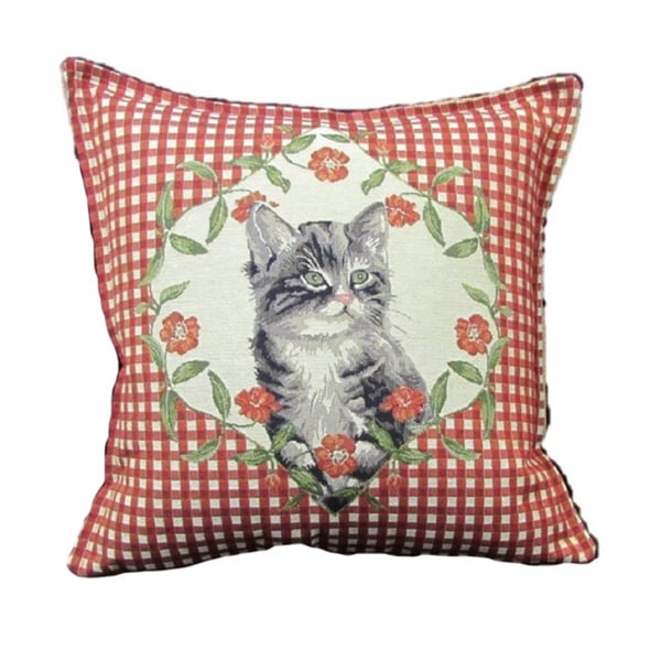 French Woven Cat Design Red Decorative Throw Pillow